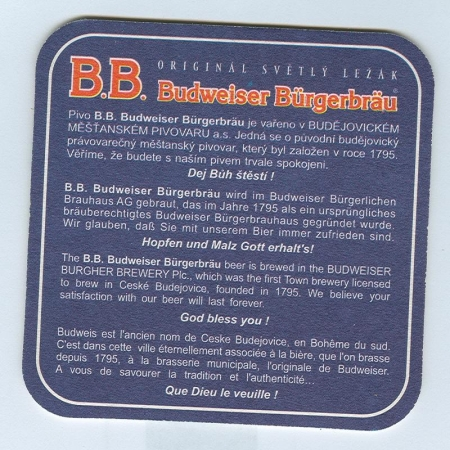 Budweiser   (USA) alátét B oldal