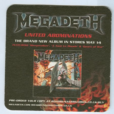 Megadeth alátét B oldal