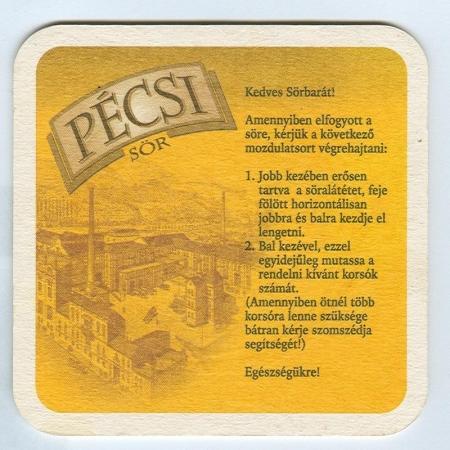 Pécsi sörfőzde alátét B oldal